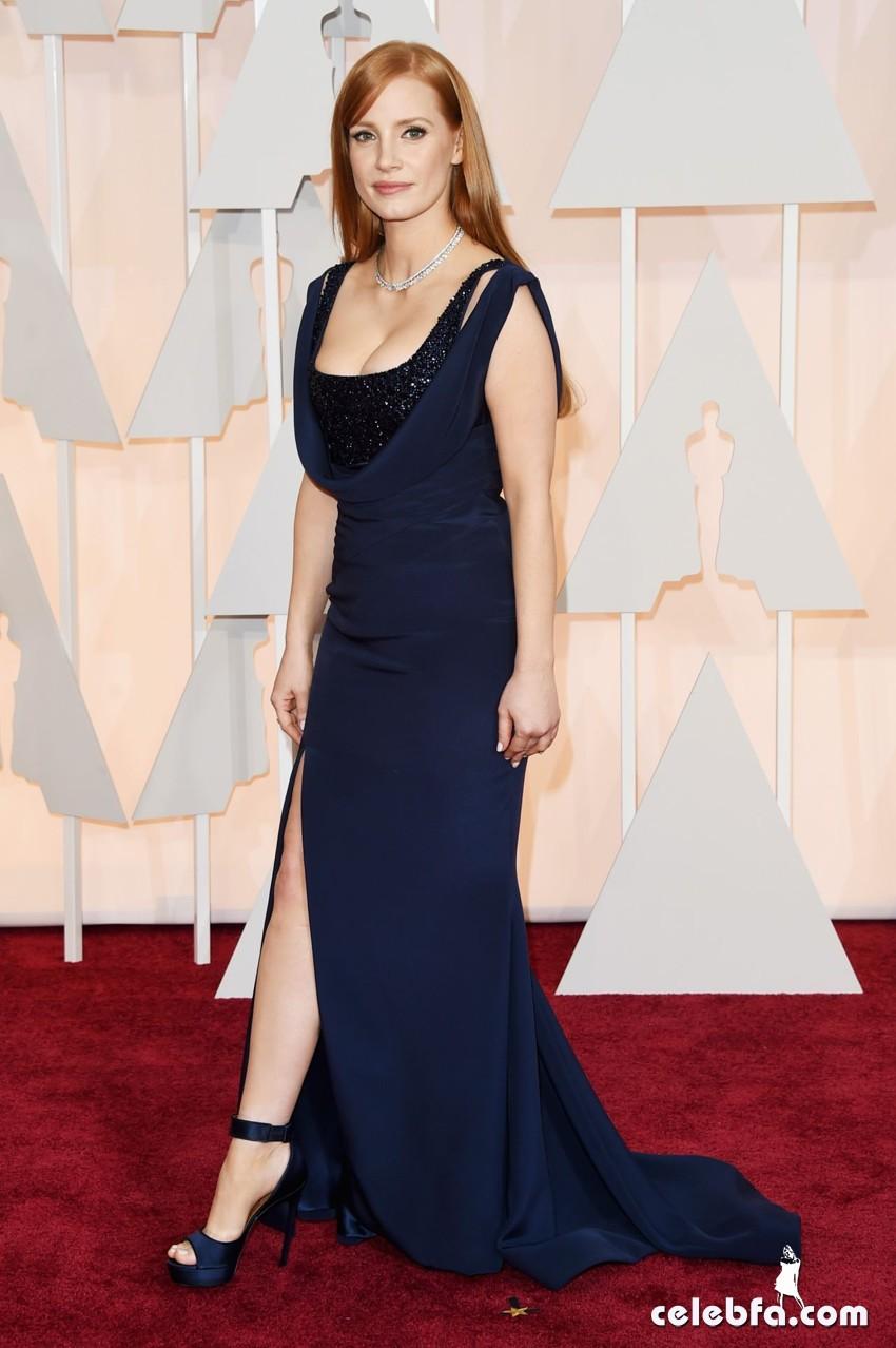 عکس های جسیکا چاستین بر فرش قرمز مراسم اهدا جوایز اسکار 2015 Oscars Red Carpet