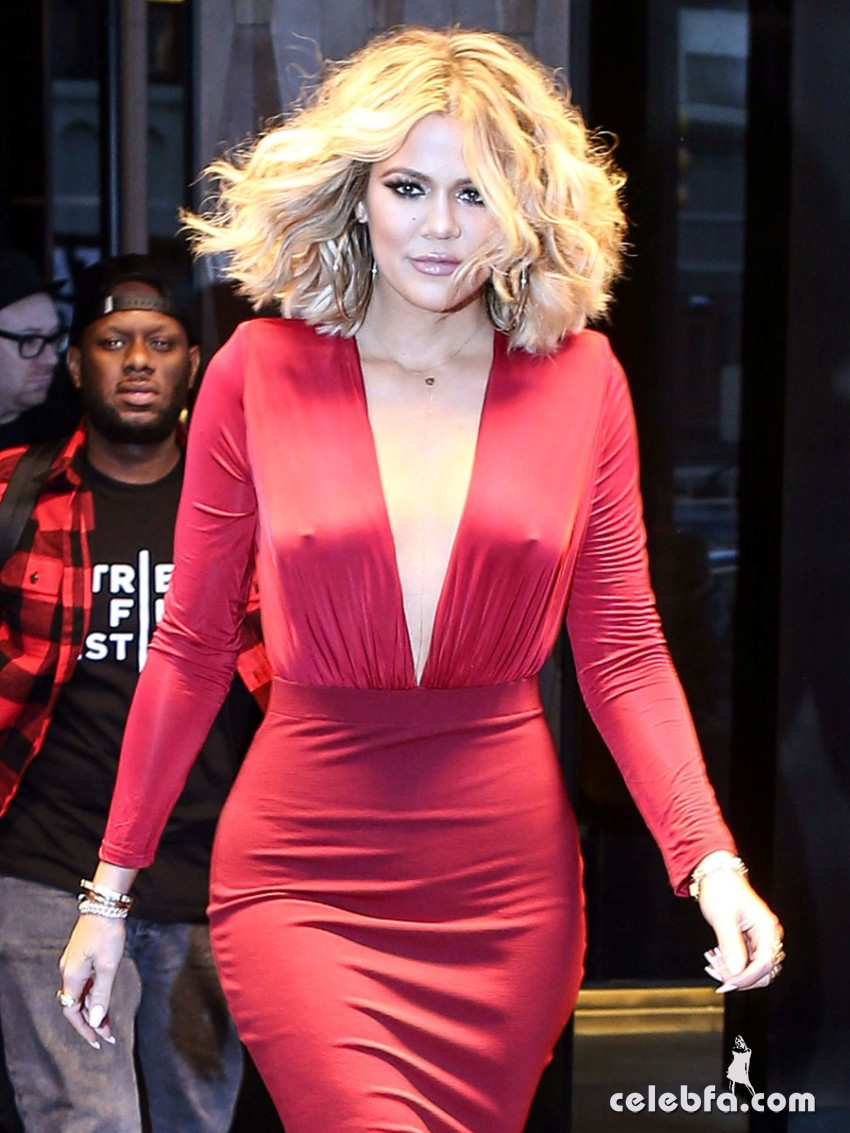 New York, NY - Khloe Kardashian was met by starstruck fans as she left her hotel for ÔLive with Kelly and MichaelÕ in New York City. The KUWTK star was the center of attention as she stepped out in a red dress with a plunging neckline. Khloe showed off her unbelievable backside as she turned around and signed autographs for the crowd. AKM-GSI         January 15, 2016 To License These Photos, Please Contact : Steve Ginsburg (310) 505-8447 (323) 423-9397 steve@akmgsi.com sales@akmgsi.com or Maria Buda (917) 242-1505 mbuda@akmgsi.com ginsburgspalyinc@gmail.com